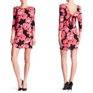 Trina Turk Tina Poppy-Print Tie-Back Jersey Dress